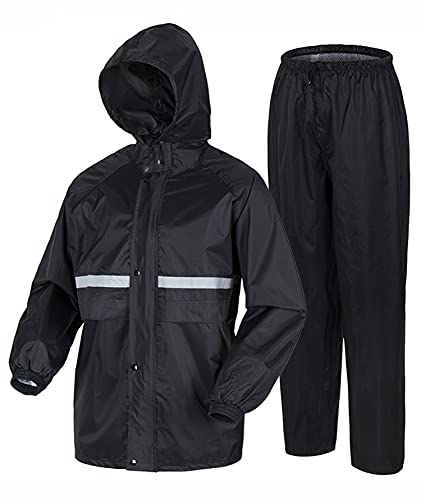 Rain Coats for Men, Lightweight Waterproof Rain Gear for Motorcycle Golf Fishing (Jacket & Pants) Navy