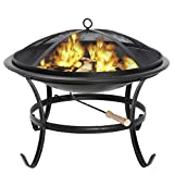 ZENY Fire Pit 22'' Outdoor Fire Pits Wood Burning Patio Fire Bowl BBQ Grill Firepit with Mesh Cover Log Grate Fire Poker for Backyard Camping Picnic Bonfires