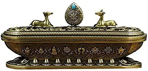 Incienso quemador de cobre incienso quemador bronce loto horno casero antigüedad hueco sándalo de madera adornos de ornamentos (color: bronce, tamaño: 20.5 * 5 * 11 cm)
