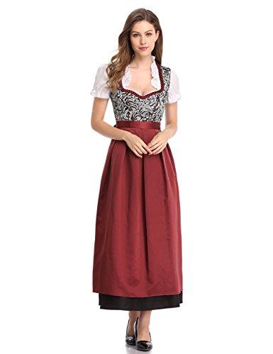 Clearlove Dirndl 3 TLG.Trachtenkleid für Oktoberfest,Kleid,Bluse,Schürze,Gr.34-46,Braun,Rosa(Verpackung MEHRWEG)
