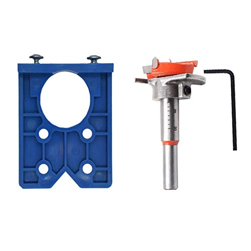 Chutoral Concealed Hinge Jig Forstner Bit Sets with 35mm Hinge Hole Cutter Hinge Jig Drill Guide Set Hole Puncher Locator for Wood Processing Drilling Kitchen Door Cabinet