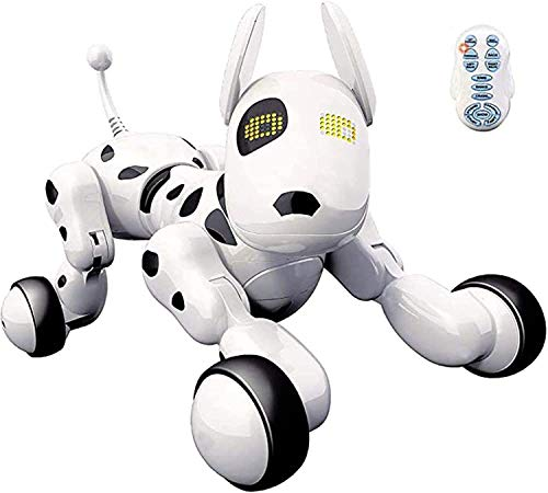 Juguetecnic Perro Robot para Niños Buddy Interactivo Mascota, Sabe Cantar, Bailar y tiene Movimiento Teledirigido, Ojos con LED, Con Batería y Cable Cargador USB