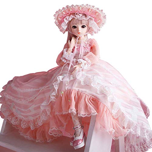 BJD Muñeca Jointed Dolls Lolita 1/3 Muñeca Articulada 60cm 24inch Jointed Dolls con Dress Makeup Accessory Peluca Disponible en Tres Estilos(Rosado),A