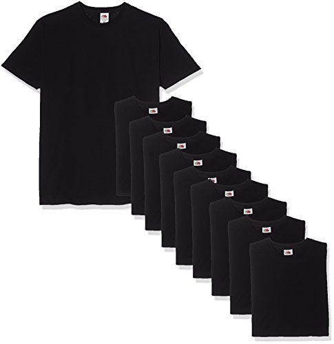Fruit of the Loom Herren T-Shirt Valueweight, 10er Pack, Schwarz (Black 36), Large