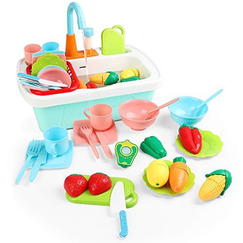 JoyGrow Fregadero Cocina Juguete Cortar Frutas Verduras Accesorio de Cocinita Infantil,Juegos de Imitación Lavavajillas Juego con Grifo Simulado Lavabo,Utensilios de Cocina Regalo para Niños y Niñas