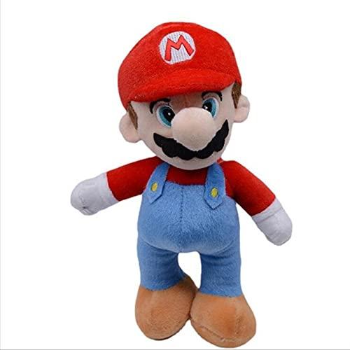 Juguetes de Peluche 25cm Super Mary Juguete de Felpa de Dibujos Animados Rojo Mario Bros Luigi Juego de Peluche Suave muñecas Regalos de cumpleaños para niños