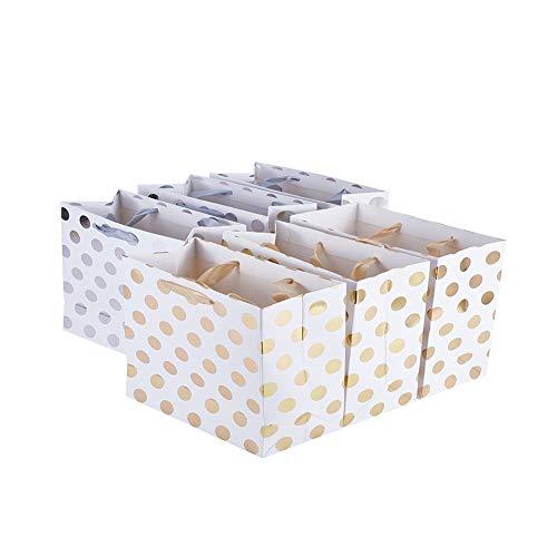 NBEADS 10 PC Einfache Rechteck-Papiergeschenk-Einkaufstaschen Mit Band-Griffen,Kreative Papiertüten Mit Rundem Punkt,Bedruckt Für Das Organisieren von Einkaufstüten Im Einzelhandel,Gold Und Silber