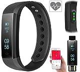 Newgen Medicals Fitness-Band: Fitness-Armband m. Bluetooth, Benachrichtigung, Pulsmesser, OLED, IP67 (Uhr mit Nachrichtenanzeige)