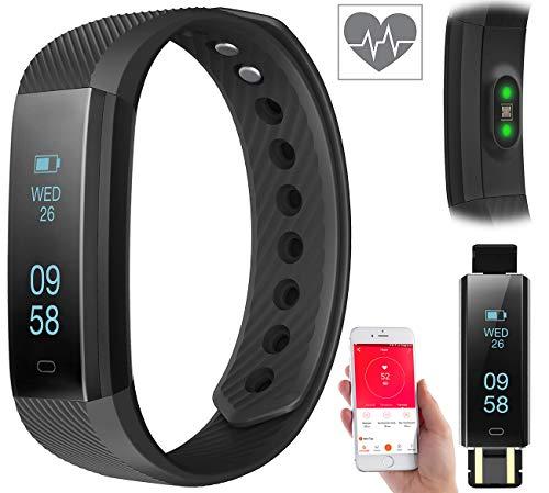 Newgen Medicals Fitness-Laufuhr: Fitness-Armband m. Bluetooth, Benachrichtigung, Pulsmesser, OLED, IP67 (Herzfrequenz-Armbänder)