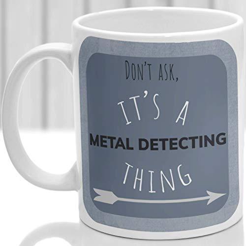 DKISEE Taza de café blanca de 325 ml, con detección de metales, es una taza de metal para detectar cosas, regalo para cualquier detector de metales, taza de té en casa y oficina