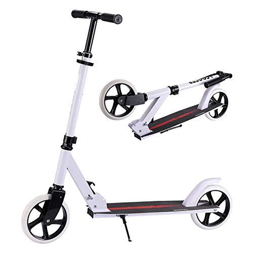 HYE-SPORT Patinete Plegable para Adultos   Kick Scooter para niños con Plataforma Extra Ancha 3 Altura Ajustable   Ideal para Ciclistas de hasta 220 Libras.