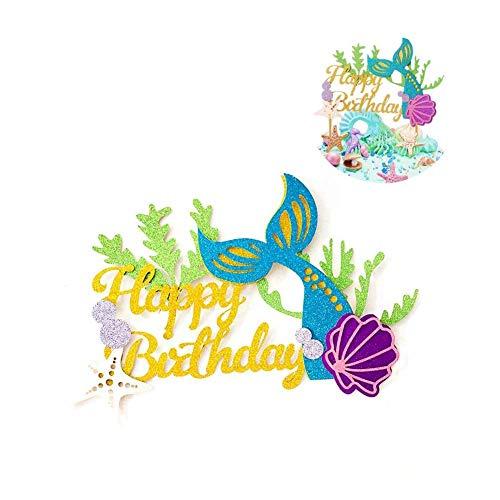 Winko Decoración para Tarta de Sirena con Purpurina para cumpleaños, diseño de Sirena para decoración de Tartas de Sirena, para Baby Shower, Fiestas de cumpleaños