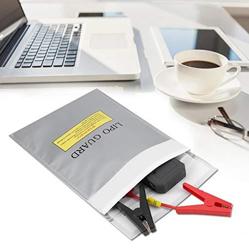Bolsas para Documentos Resistentes al Fuego de Dos tamaños Resistente al Agua Carga Segura para Dinero en Efectivo(Silver, Small)