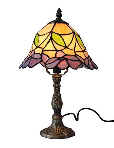 Gweat 6-Zoll Vintage Pastorale Glasmalerei Tiffany Blumen Tischlampe Schlafzimmer Lampe Nachttischlampe