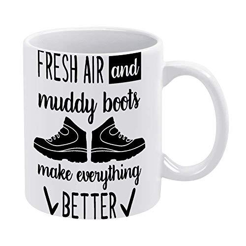La mejor taza de café divertida y tazas de té y taza de café El aire fresco y las botas embarradas hacen que todo sea mejor Patrón de calzado deportivo Humor Novedad diciendo Regalo para niñas, esposo
