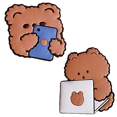 Miroir de maquillage 2 pièces, mini miroir de voyage rond décoratif de poche, miroir de cadre extérieur en silicone en forme d'ours de dessin animé pour femmes filles ((Mobile Bear + Computer Bear))