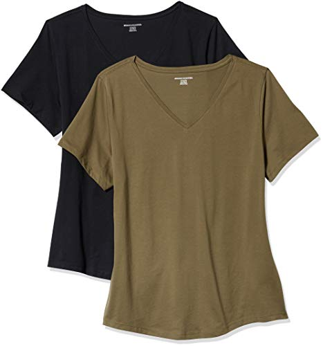 Amazon Essentials Women's 2-Pack Classic-Fit 100% Cotton Short-Sleeve V-Neck T-Shirt, Olive/Black