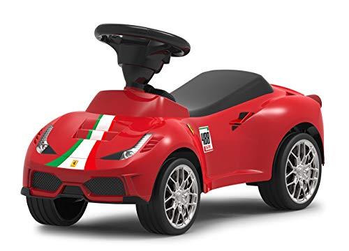 Jamara 460604 Rutscher Ferrari 488 GTE - Hupe am Lenkrad, originalgetreue Optik, Kippschutz, Kunstledersitz, rot