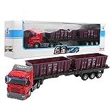 BHDD Juguete de camión de Transporte, 1:48 Juguete de Carro de Transporte con tracción hacia atrás, Juguete de camión de construcción de simulación con contenedor Desmontable para niños(Rojo)