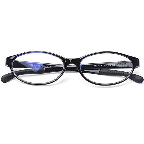 DOOVIC Blaulichtfilter Computer Lesebrille Schwarze Cat Eye Flexible Anti Rutsch Horn Brille mit Stärke für Damen/Herren 1,0
