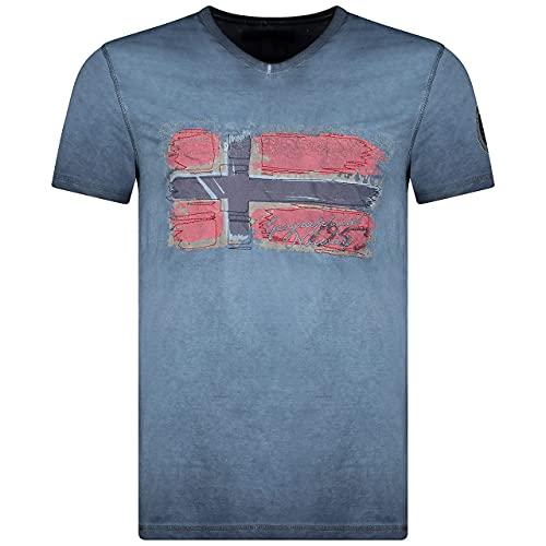 Geographical Norway JOASIS Herren T-Shirt Baumwolle Casual – T-Shirt Bedruckt Logo Grafik – Kurze Ärmel – V-Ausschnitt Regular Fit Herren (Marine, L)