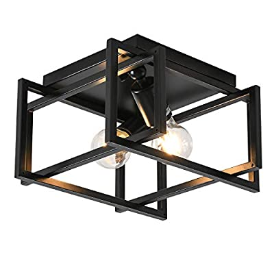 Flush Mounted Ceiling Light 2 Lights Industrial Close to Ceiling Light Fixture with Square Metal Cage, Black