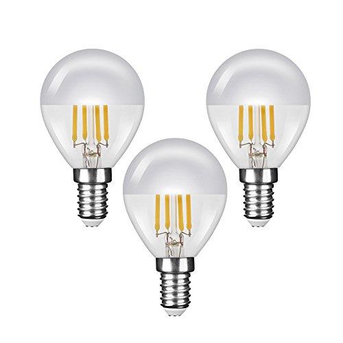 "NuLoXx 3er Pack LED Filament Kopfspiegellampe P45 ""Tropfenform"" SILBER E14 4W/827 2700K warmweiß, 380 LM, AC 220-240, 320° Abstrahlwinkel"
