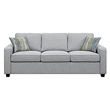 Scott Living Brownswood Fabric Stationary Sofa with Accent Pillows in Grey