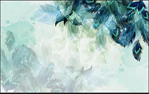 Papel De Pared 3D Tela No Tejida Papel Pintado Fondo Azul Artístico Hermoso De La Pluma Papel Pintado Pared Mural Decorativo Salón Dormitorio 400x280cm