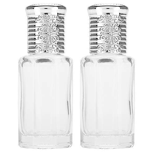 Bouteilles à Bille en Verre 2 Pièces, Mini Bouteilles D'huile Essentielle de Parfum de Bouteille de Rouleau en Verre Vide 10 Ml/12 Ml(10ML d'argent)