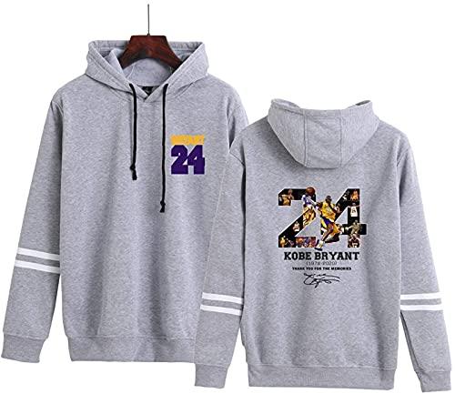 CPBY Lakers Bryant # 24 Suéter con Capucha Hombres Y Mujeres Sueltas Cámaras Fanáticos Estrellas Deportes Jersey(3X-Large, Gray)