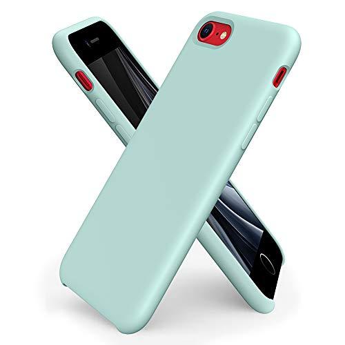 ORNARTO Coque iPhone Se(2020) en Silicone, iPhone 7/8 Case Fine en Caoutchouc Liquid Silicone Cover Protection Bumper Anti-Choc Housse Étui pour iPhone 7/8/SE (2020) 4,7 Pouces-Menthe Verte