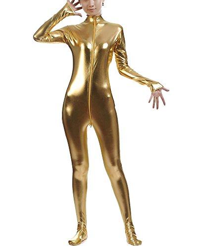 Ganzkörperanzug Anzug Suit Kostüm Shiny Ganzkörperanzug Kostüm Gelb XL
