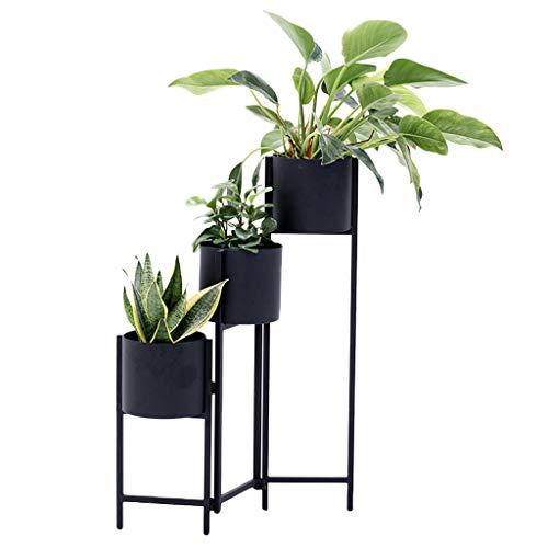 FL- Moderne en fer forgé intérieur fleur stand multi-niveau salon chambre balcon sol-rack à tambour pliant créatif multi-fonction vert stand