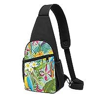 熱帯の花とオウム ワンショルダーバッグ クロスボディバックパック ボディバッグ 斜めがけ バッグ おしゃれ 男女兼用 軽量 大容量