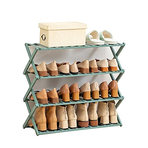 Yirunfa Zapatero de Bambú Plegable, Plegable de pie Estante de Zapatos Organizador de Almacenamiento, Zapatero de Bambú No Requiere Montaje, para el Hogar, Sala de Estar, Balcón, Baño