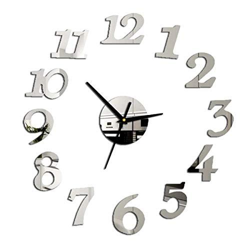 puseky Reloj de pared con números 3D y superficie de espejo adhesivo decorativo para el hogar, la oficina, el hotel