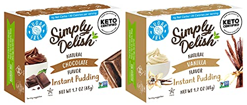 Simply Delish Natural Pudding and Pie Filling Variety Pack, 1 Chocolate and 1 Vanilla, 2 CT