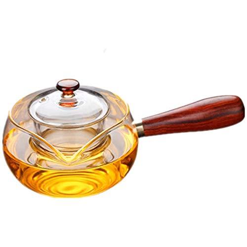 Ai xin 300ML Seitengriff Topf Helle Borosilicatglas Teekanne, Filter im japanischen Stil Kung Fu Teekanne mit Glas, Safe Tea Kettle, Blüten- und ungeheftetes Tee-Maschine Set