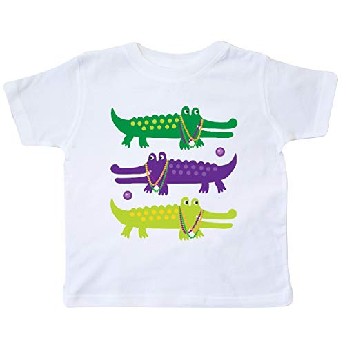 inktastic Mardi Gras Holiday Alligators Toddler T-Shirt 3T White 393f5