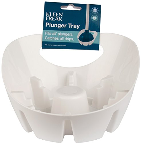 Kleen Freak 3001600 Antibacterial GERM GUARD Toilet Plunger and Holder Combo Pack, White/Blue