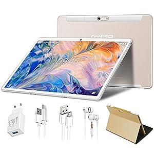 Tablet 10 Pulgadas 4GB RAM + 64GB ROM, WiFi + Dual SIM Android 10 Pro GOODTEL G3 Tableta Cámara Dual 5.0+8.0 MP | 8000mAh Batería | IPS | Bluetooth | Type-C | Auriculares | Fundas Cuero - Oro Rosa