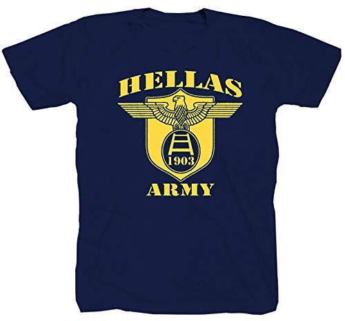 Hellas Army Calcio Ultras Fussball Ultra Fan Derby Szene Football blau T-Shirt Shirt M