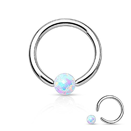 WildKlass Jewelry Opal Captive Bead Synthetic Opal Ball 316L Surgical Steel Captive Bead Ring (16g 1/4