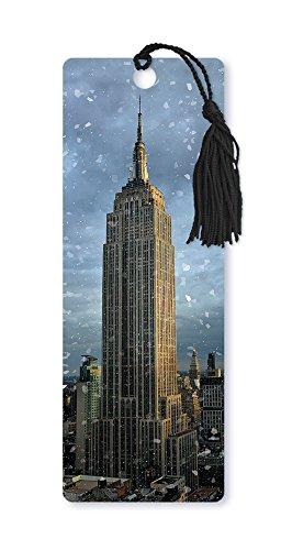Dimension 9 Segnalibro lenticolare 3D con nappa, Empire State Building Christmas, Winter in New York City Series (LBM081)