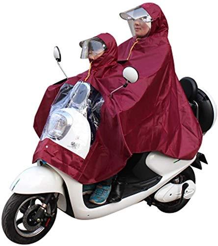 GUYUE Madre y niños niño Padre-Hijo del Impermeable Doble Hijo, Bicicleta eléctrica...