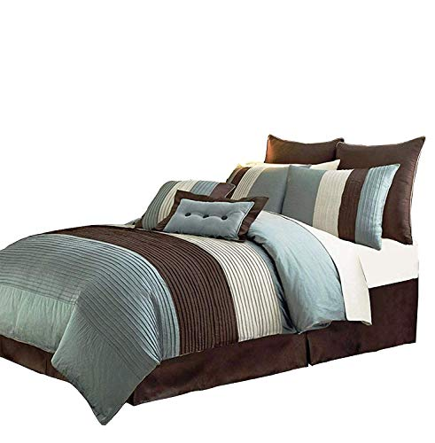 Chezmoi Collection 8Pieces Off-White, Blue and Brown Stripe 8 Comforter Set King