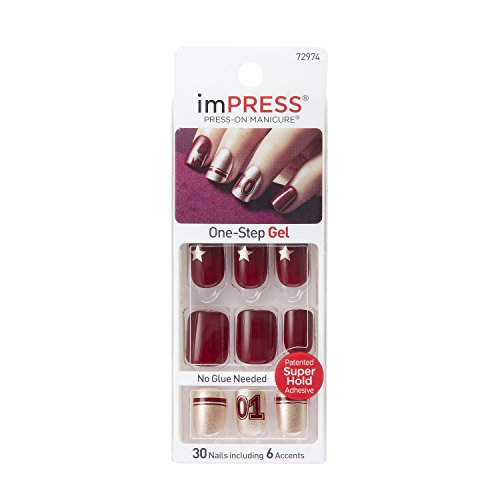 Kiss Products Impress Nails with Sporty Accents, Charity, Burgundy