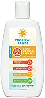 Tropical Sands All Natural SPF 50 Mineral Sunscreen - Biodegradable, Visible Sun Protection - 5.4 Fl Oz