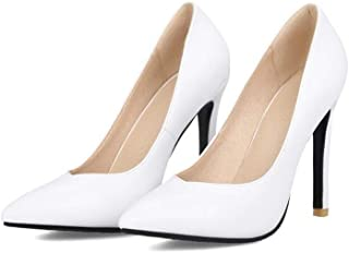 Simple Sexy Pointed High Heels For Banquet Wedding Dress Daily (Color : White, Size : 35)